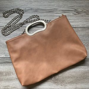 Handbags - Vegan Large Zipper Tan Brown Cross Body Clutch